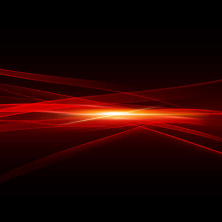 Abstract spark and flow light strips red tone on middle background, vector illustration