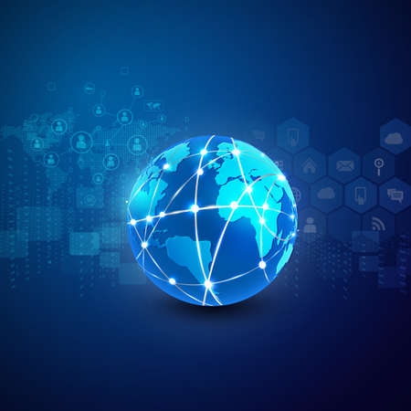 contact information: World network communication and technology background, vector illustration