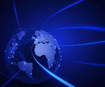 global communication: World mesh network technology and communication concept background, vector illustration Illustration