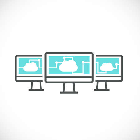 cloud computer: computer and cloud computing networking icon concept, vector illustration Illustration