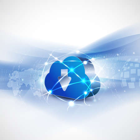 cloud computing and mesh concept background for communication and technology, vector illustration
