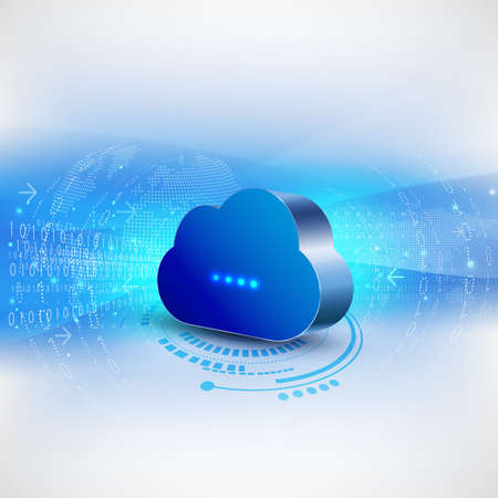 cloud computing concept background for communication and technology, vector illustration Vettoriali