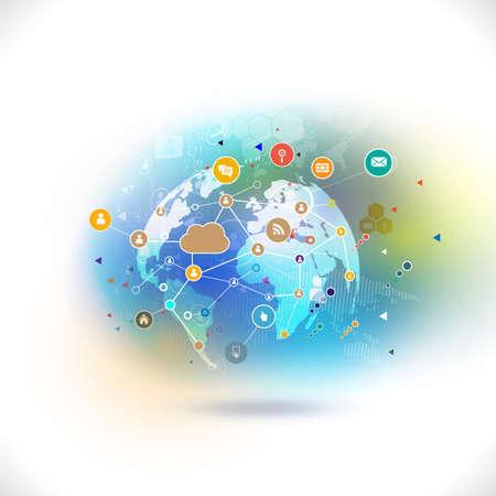 통신 기술 비즈니스 개념 다채로운 미디어 네트워크 기호 미래 세계는 흰색 배경, 벡터 일러스트 레이 션을 격리