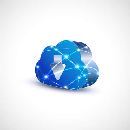 cloud technology: cloud computing icon with mesh for communication and technology, vector illustration