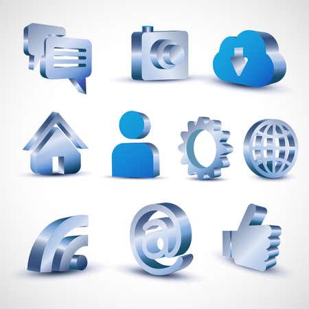 icon set: social media 3d icon set, vector illustration