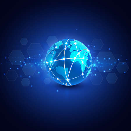 earth moving: futuristic world network communication and technology concept on motion flow background