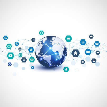 通信技術のビジネス概念のメディア ネットワークのシンボル世界分離白背景、ベクトル図  イラスト・ベクター素材