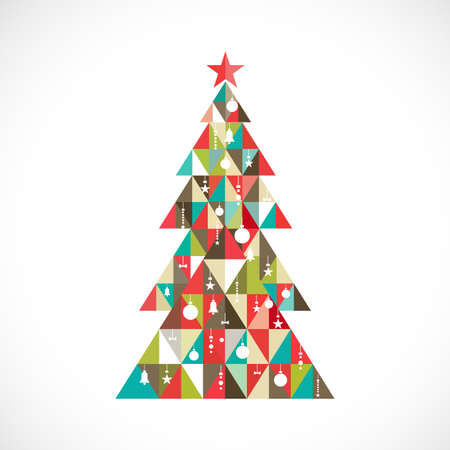 christmas tree illustration: Christmas tree with geometric graphic decorate, vector illustration Illustration