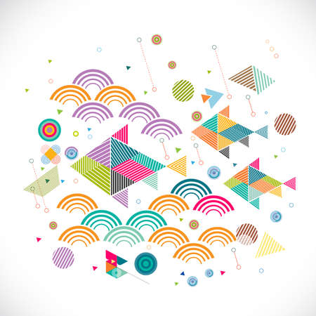 creative concept: abstract geometrical with creative fish in water graphic concept and decoration,Vector illustration