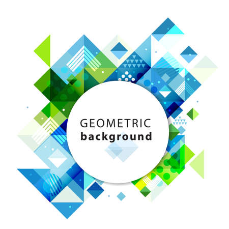 Abstract colorful and creative geometric template and blank circle for text