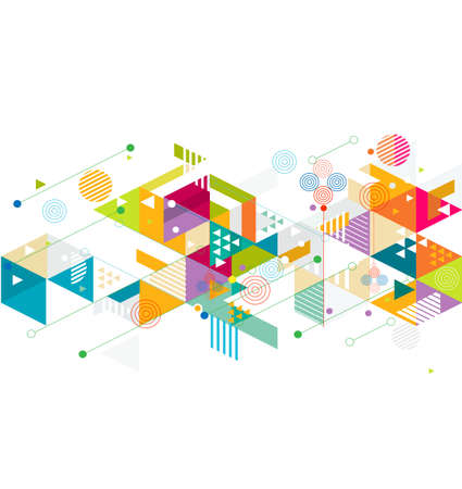 geometrical: Abstract colorful and creative mix geometric background, illustration