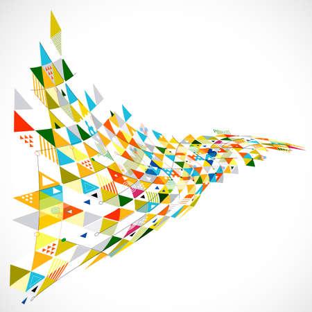 abstract geometrische creatief met mix geometrische decoratie op perspectief curveweergave, vector illustratie
