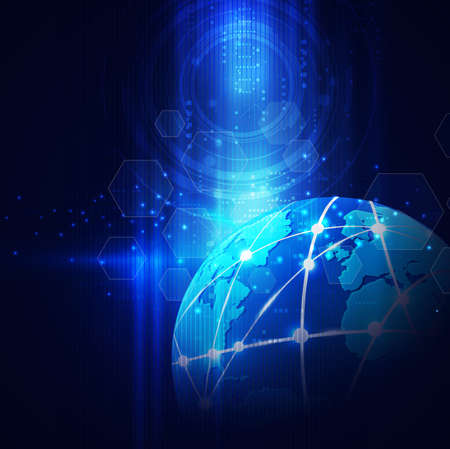 contact information: futuristic world network communication and technology concept on motion flow background, vector illustration