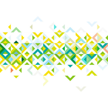 strip design: Abstract strip of colorful mosaic mix geometric pattern design, on middle part, vector