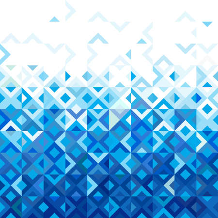 Resumen del mosaico de la mezcla del diseño del modelo geométrico, tono azul de la gradación de color abajo al principio de la parte, el vector
