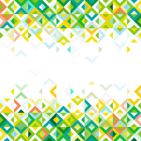 strip design: Abstract strip of colorful mosaic mix geometric pattern design on below and top part and space for text on center, vector
