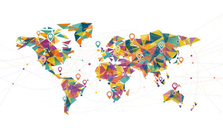 world map mesh connecting global concept with colorful triangle, geometric and dots line, vector