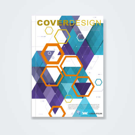 magazine cover: Cover template, brochure template layout, book cover, annual report, magazine or booklet with geometric design on white background for corporate concept for in A4 size, vector illustration Illustration