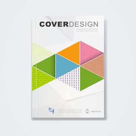 magazine cover: Cover template, brochure template layout, book cover, annual report, magazine or booklet with abstract geometric in polygon design on white paper texture for technology concept and corporate business in A4 size, vector illustration Illustration
