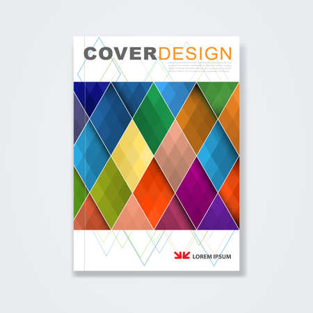 magazine cover: Cover template, brochure template layout, book cover, annual report, magazine or booklet with colorful geometric design on white background for corporate business in A4 size, vector illustration