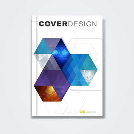portadas: Cubra plantilla, diseño de folleto, de libro, informe anual, revista o folleto con hexágono y diseño geométrico sobre fondo blanco para la tecnología y el concepto corporativo en A4, vector