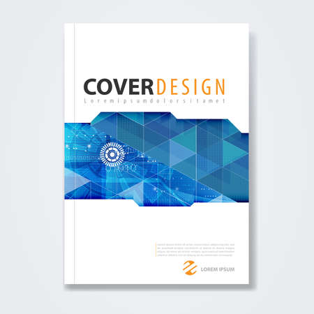 business technology: Cover template, brochure template, book cover, annual report, magazine or booklet with abstract geometric design for technology concept corporate business in A4 size, vector illustration