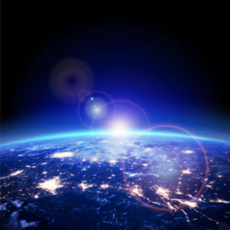 earth from space: earth and light horizon from space, vector illustration