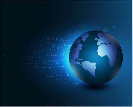 digital world: world moving concept on the digital technology background, vector illustration