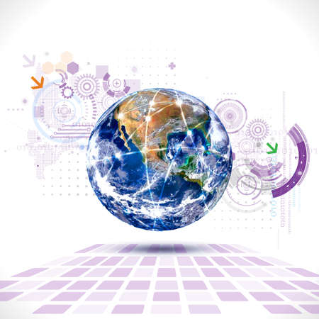 monde et technologie futuriste avec le concept d'élément numérique et engrenage Vecteurs