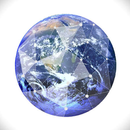 Earth with mesh communication and technology concept