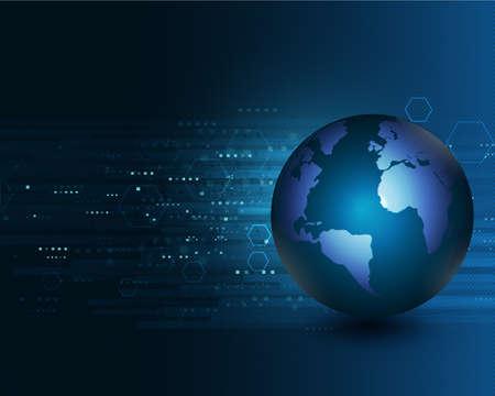 digital world: Blue world moving concept on the digital technology background