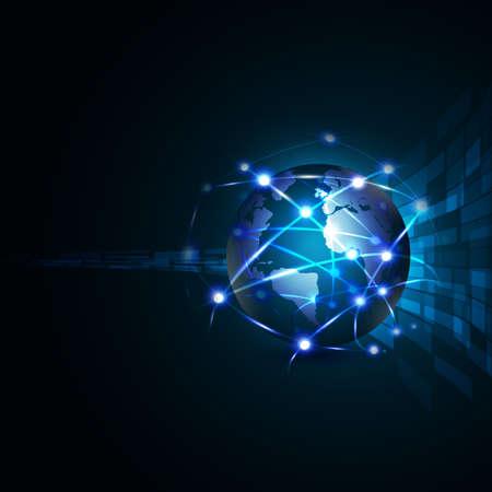 mundo con la comunicación de red y el concepto de tecnología global, ilustración vectorial