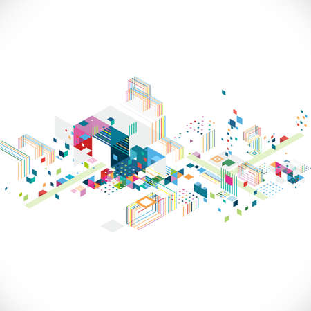 abstracte creatieve geometrische architect en stad concept met kleurrijke grafische en driehoek, lijn, kleur decoratie