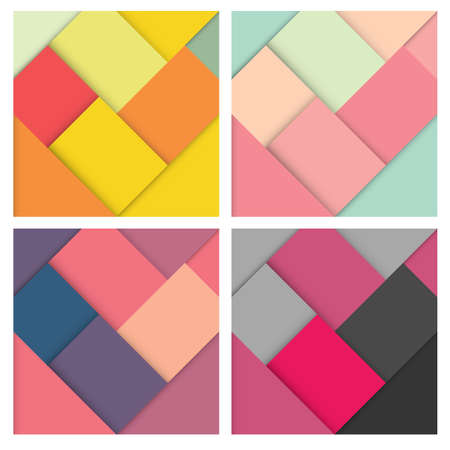 retro wallpaper: Set of abstract square colorful retro background with stylish colors, vector illustration