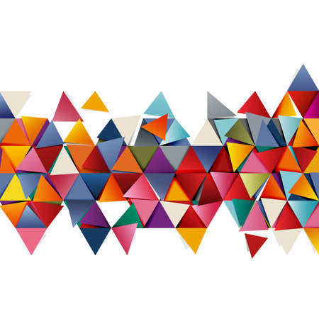 Geometric colorful triangle mosaic and fall pattern element on white. Modern overlapping triangles. Business or tech presentation, vector illustration