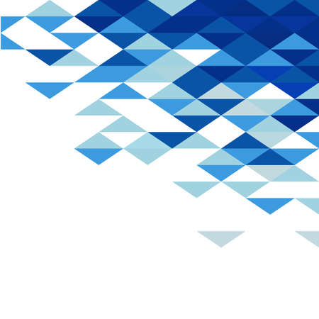 Online Business: Abstract geometric triangle blue mosaic pattern element on white. Corporate business or technology identity element, online presentation website element, vector illustration