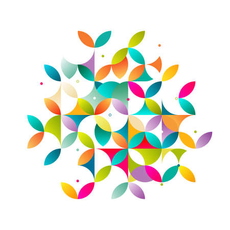 flower layout: Abstract colorful and creative geometric with a variety of geometric pattern. Abstract flower pattern on white for leaflet business cover page, brochure, flyer, poster layout. vector illustration