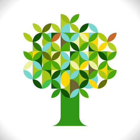 crecimiento planta: Tree symbol with geometric pattern concept isolated on white. Corporate business identity design, online presentation website element, vector illustration