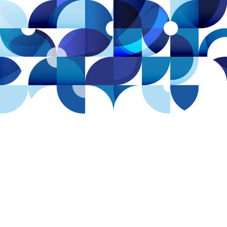 Abstract modern blue geometric background, template on white space on below for corporate brochure design, business, leaflet, cover, page, flyer, poster layout. vector illustration Vector Illustration