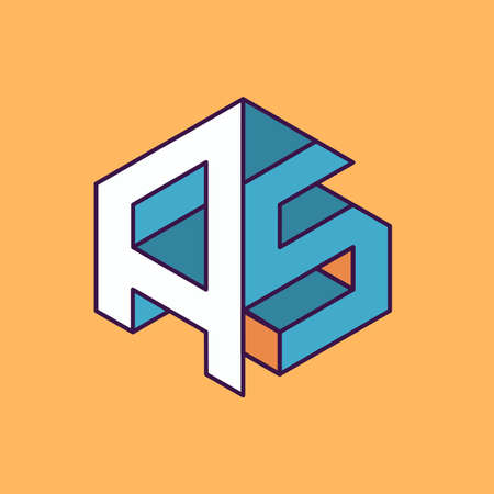 publication: A S  monogram lettering with perspective geometric concept for Corporate business identity design, printing, publication, T-shirt design. vector illustration