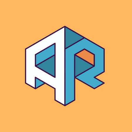 publication: A R  monogram lettering with perspective geometric concept for Corporate business identity design, printing, publication, T-shirt design. vector illustration