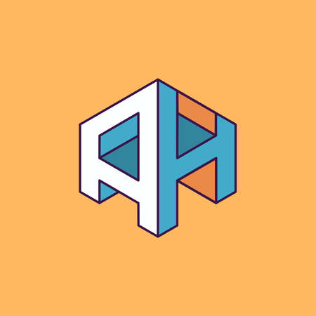 publication: A H  monogram lettering with perspective geometric concept for Corporate business identity design, printing, publication, T-shirt design. vector illustration