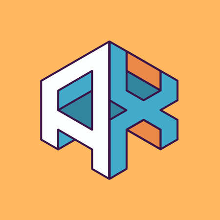 publication: A X  monogram lettering with perspective geometric concept for Corporate business identity design, printing, publication, T-shirt design. vector illustration Illustration