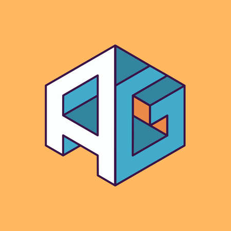 publication: A G  monogram lettering with perspective geometric concept for Corporate business identity design, printing, publication, T-shirt design. vector illustration