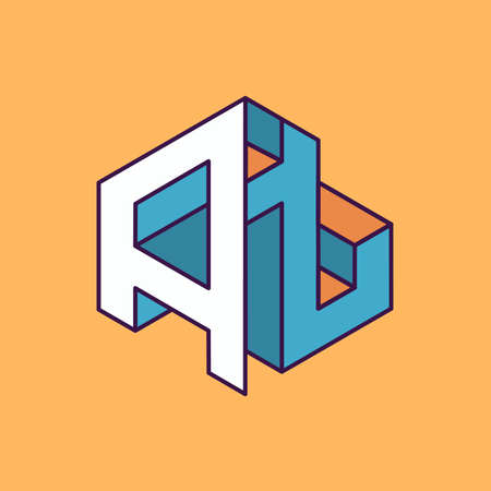 publication: A t  monogram lettering with perspective geometric concept for Corporate business identity design, printing, publication, T-shirt design. vector illustration