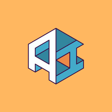 publication: A I  monogram lettering with perspective geometric concept for Corporate business identity design, printing, publication, T-shirt design. vector illustration