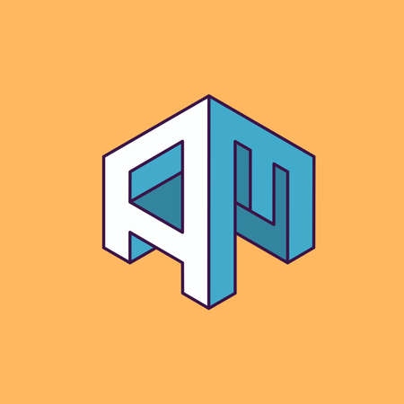 initial: A M  monogram lettering with perspective geometric concept for Corporate business identity design, printing, publication, T-shirt design. vector illustration