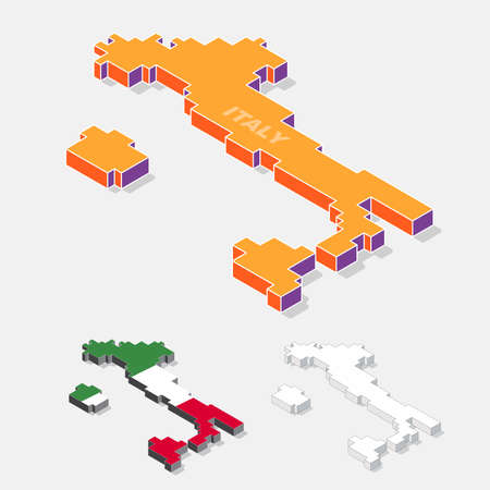 italy background: Italy map element with 3D isometric shape isolated on background, vector illustration