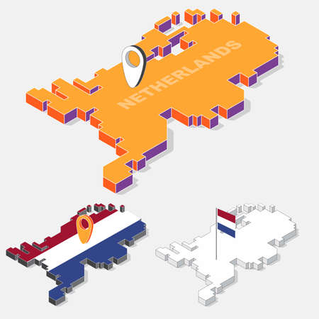 Netherlands flag on map element with 3D isometric shape isolated on background, vector illustration