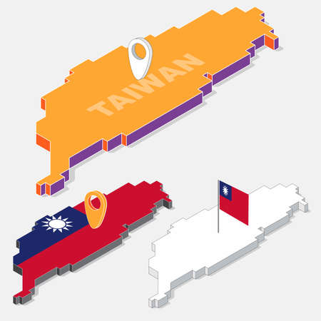 Taiwan flag on map element with 3D isometric shape isolated on background, vector illustration